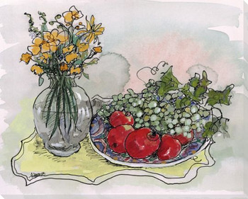 Greek Bowl with Fruit and Flowers Wrapped Canvas Giclee Print