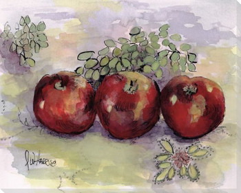 Apples and Grapes on Spanish Linen Wrapped Canvas Giclee Print
