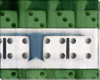 Green Dominoes Wrapped Canvas Giclee Print Wall Art
