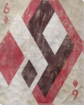 Six of Diamonds Wrapped Canvas Giclee Print Wall Art