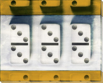 Yellow Dominoes Wrapped Canvas Giclee Print Wall Art