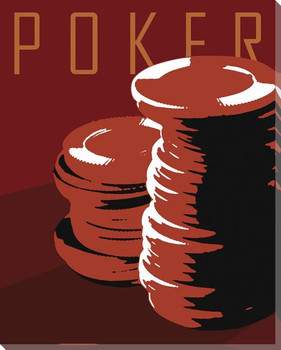 Poker with Chips Wrapped Canvas Giclee Print Wall Art