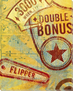 Double Bonus Pinball Wrapped Canvas Giclee Print Wall Art