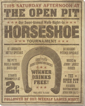 Vintage Horseshoe Tournament Ad Wrapped Canvas Giclee Print