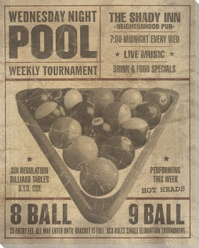Vintage Pool Tournament Ad Wrapped Canvas Giclee Print Wall Art