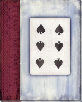 Old Hand Six of Spades Card Wrapped Canvas Giclee Print Wall Art