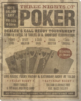 Vintage Poker Tournament Ad Wrapped Canvas Giclee Print Wall Art