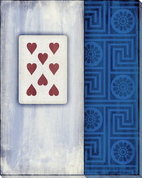 Old Hand Eight of Hearts Card Wrapped Canvas Giclee Print Wall Art