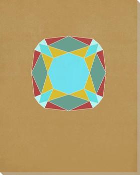 Graphic Gemstone Cushion Cut Wrapped Canvas Giclee Art Print Wall Art