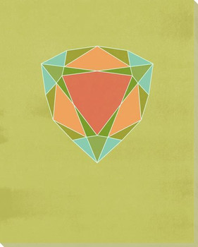 Graphic Gemstone Trillion Cut Wrapped Canvas Giclee Art Print Wall Art