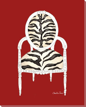 Zebra Chair on Red Wrapped Canvas Giclee Print Wall Art