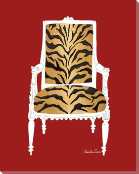 Tiger Chair on Red Wrapped Canvas Giclee Print Wall Art