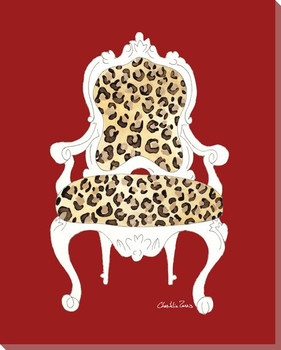 Leopard Chair on Red Wrapped Canvas Giclee Print Wall Art