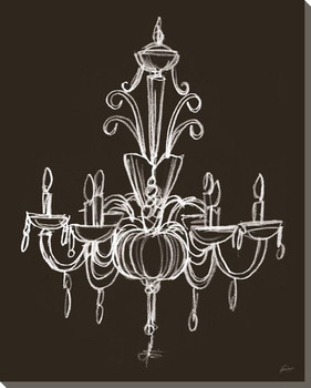 Elegant Chandelier II Wrapped Canvas Giclee Print Wall Art