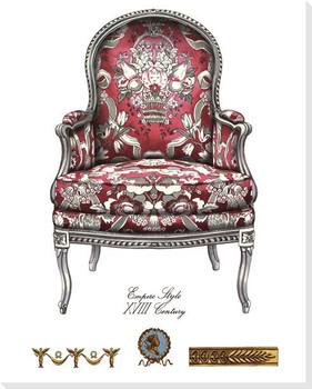 Red Empire Style Chair Wrapped Canvas Giclee Print Wall Art
