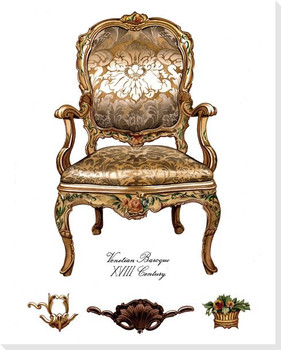 Gold Venetian Baroque Chair Wrapped Canvas Giclee Print Wall Art