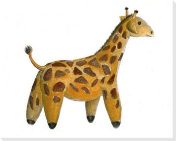 Stuffed Giraffe Wrapped Canvas Giclee Print Wall Art