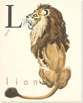 Sitting Lion Wrapped Canvas Giclee Print Wall Art