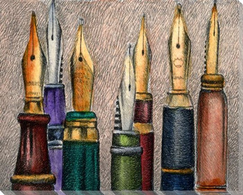 Fountain Pens Wrapped Canvas Giclee Print Wall Art
