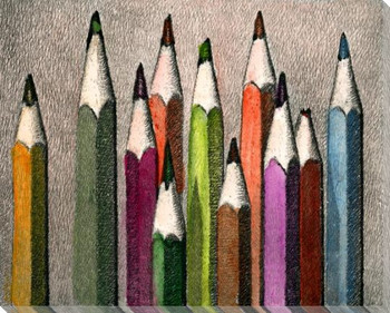 Colored Pencils Wrapped Canvas Giclee Print Wall Art