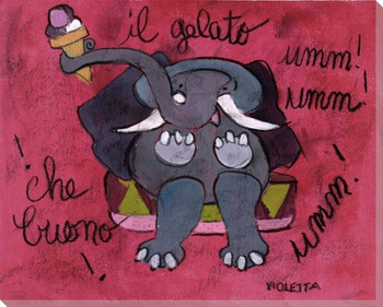 II Galato Elephant Wrapped Canvas Giclee Print Wall Art