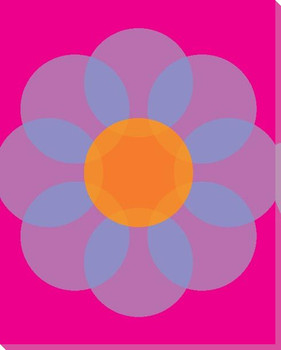 Pink Mod Flower Two Wrapped Canvas Giclee Print Wall Art
