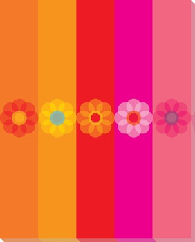 Pink Mod Flower Six Wrapped Canvas Giclee Print Wall Art