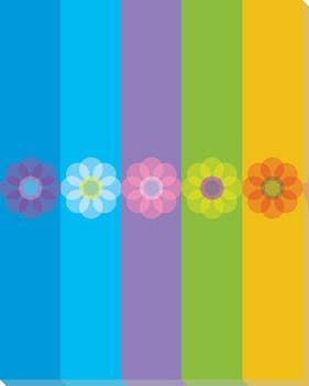 Blue Mod Flower Six Wrapped Canvas Giclee Print Wall Art