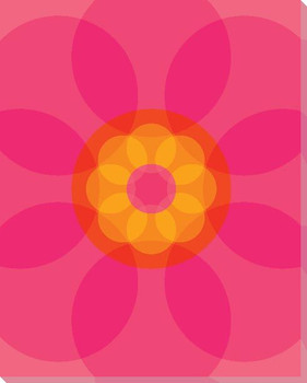 Pink Mod Flower Four Wrapped Canvas Giclee Print Wall Art