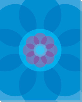 Blue Mod Flower Four Wrapped Canvas Giclee Print Wall Art
