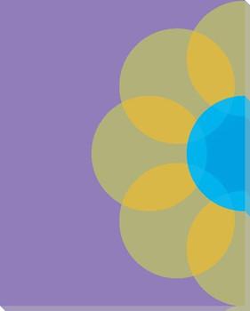 Blue Mod Flower Nine Wrapped Canvas Giclee Print Wall Art
