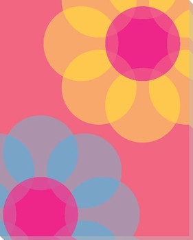 Pink Mod Flower Three Wrapped Canvas Giclee Print Wall Art