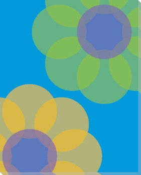 Blue Mod Flower Three Wrapped Canvas Giclee Print Wall Art
