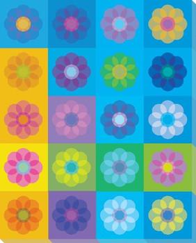 Blue Mod Flower Seven Wrapped Canvas Giclee Print Wall Art