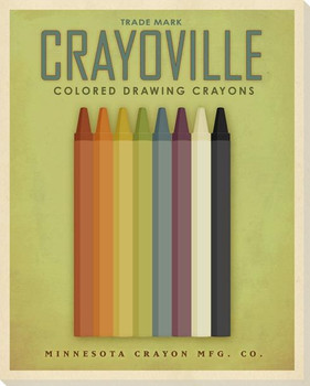 Crayoville Crayons Green Wrapped Canvas Giclee Print Wall Art