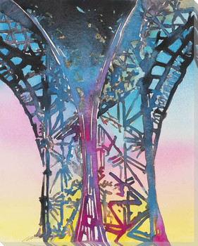 Rainbow Eiffel Tower Wrapped Canvas Giclee Print Wall Art