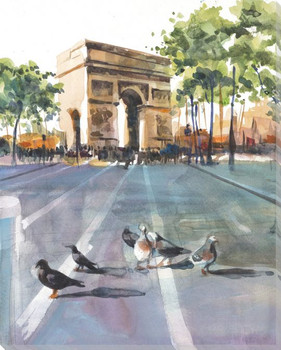 Arc De Triomphe with Birds Wrapped Canvas Giclee Print Wall Art