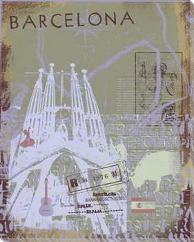Barcelona Sight Seeing III Wrapped Canvas Giclee Print Wall Art