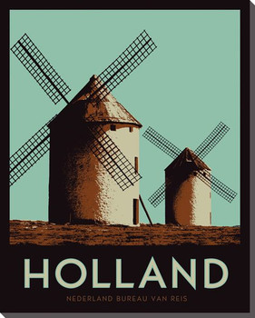 Holland Windmills Travelogue Wrapped Canvas Giclee Print Wall Art