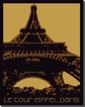 Paris Eiffel Tower Travelogue Wrapped Canvas Giclee Print Wall Art