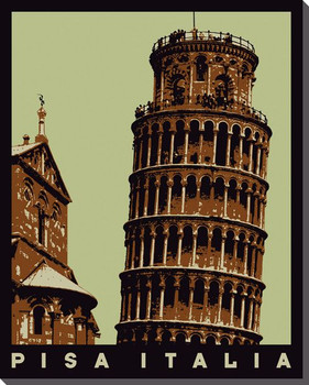 Italy Leaning Tower of Pisa Travelogue Wrapped Canvas Giclee Art Print