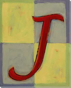 Block Letter J Wrapped Canvas Giclee Print Wall Art