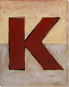Block Letter K Wrapped Canvas Giclee Print Wall Art