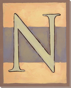 Block Letter N Wrapped Canvas Giclee Print Wall Art