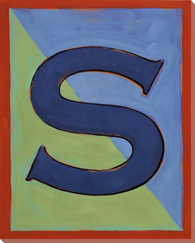 Block Letter S Wrapped Canvas Giclee Print Wall Art