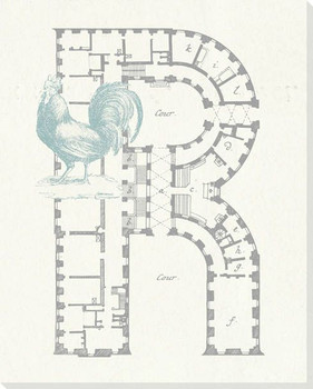 Architecture Letter R Wrapped Canvas Giclee Print Wall Art