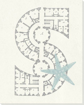 Architecture Letter S Wrapped Canvas Giclee Print Wall Art