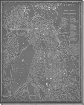 City Map of Boston Wrapped Canvas Giclee Print Wall Art