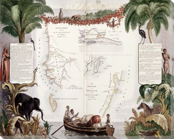 Tropical Map No. 1 Wrapped Canvas Giclee Print Wall Art