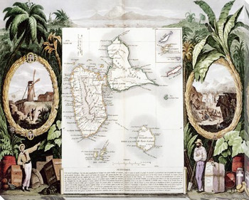 Tropical Map No. 2 Wrapped Canvas Giclee Print Wall Art